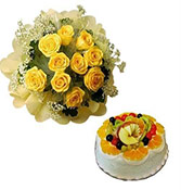 10 yellow roses bunch and Fruit cake